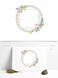 圆形手绘水彩花卉玫瑰植物复古边框