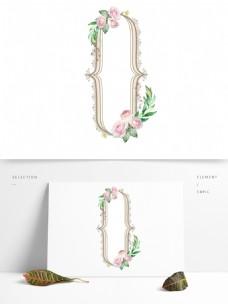 手绘水彩清新花卉玫瑰植物欧式边框