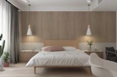 现代简约原木日系卧室