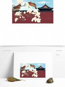红色砖墙外的玉花花卡通背景
