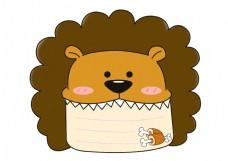 手绘卡通狮子对话框