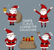 4款彩绘圣诞老人矢量素材