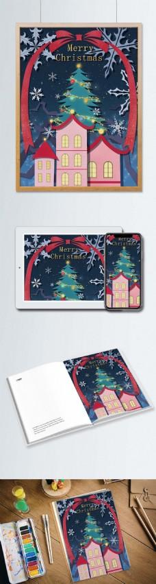 圣诞节剪纸风插画星空下的圣诞树和红房子