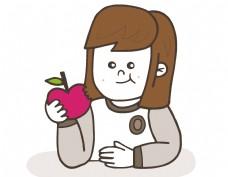卡通可爱女孩苹果元素