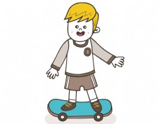 卡通男孩滑板元素