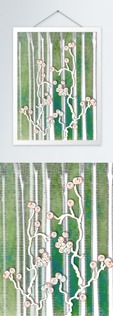现代简约白色球枝条客厅装饰画