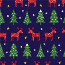 北歐復古圣誕麋鹿圣誕樹印花圖案