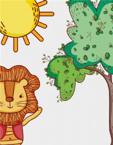 手绘可爱治愈系小狮子插画