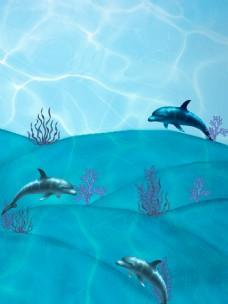 海底海豚景色设计