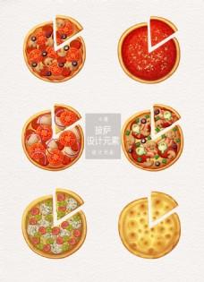 披萨俯视图设计元素