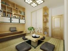日系榻榻米室内卧室3D效果图模型