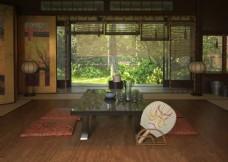 日系茶厅3D效果图模型
