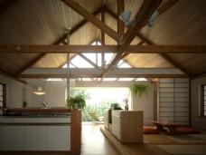 厨房日系倒台榻榻米3D效果图模型带灯光