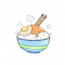 卡通手绘冬季拌饭插画