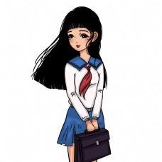穿校服的卡通美女