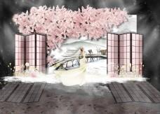 粉色桃花婚礼效果