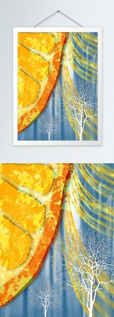 现代简约橘色水果橙子客厅装饰画
