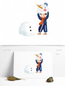 正在堆雪人的小男孩手绘人物