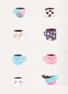 彩绘可爱咖啡杯矢量素材