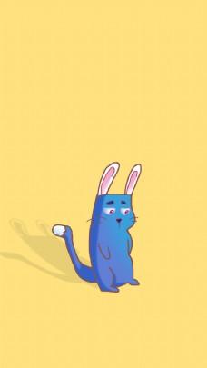 兔子蓝色兔子小猫卡通兔子