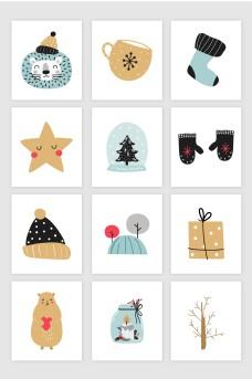 12款矢量手绘创意冬天圣诞节日图案