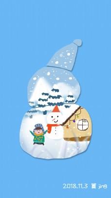 雪人小房子雪人卡通