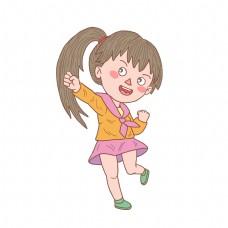 卡通手绘扎辫子小女孩