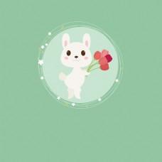 卡通手绘矢量小兔子捧花