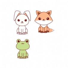 卡通兔子狐狸青蛙