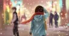 唯美雪花少女背影