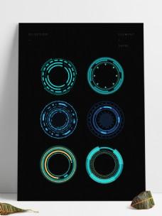 圆形蓝色未来感科技边框几何边框圆框对话框