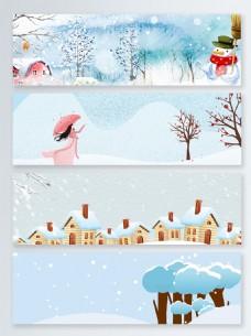 雪景冬季特惠banner背景
