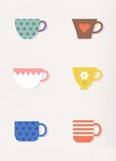 矢量6组咖啡杯贴纸设计