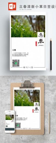 立春清新小草ppt日签设计