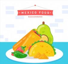 创意餐盘中的墨西哥特色食物