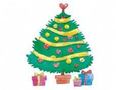 卡通圣诞树礼物元素