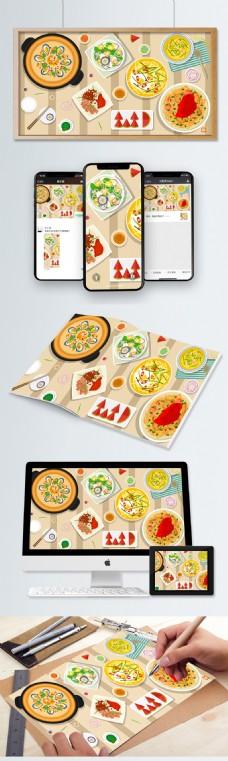 冬季美食之健康饮食插画
