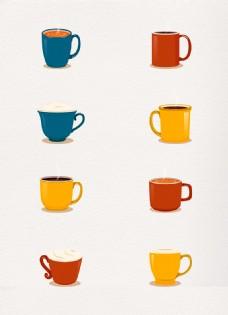彩色杯装咖啡矢量素材