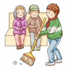 孝敬老人在帮助打扫卫生