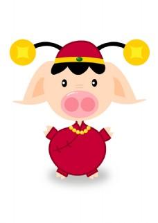猪年素材可爱卡通2019喜庆发财猪