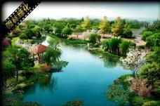 绿化景观亮化规化效果图鸟瞰图