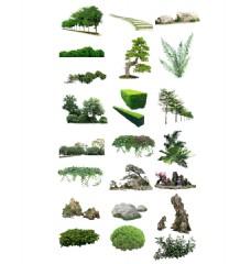 树素材草坪地坪元素远山石头