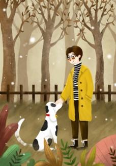 秋冬遛狗小雪插画男生下雪