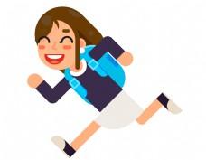 卡通学生奔跑元素