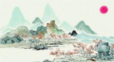 黄灰色中国风山水国画插画