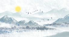 中国风清新青色水墨山水背景插画