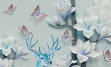 立体蝴蝶花玄关屏风背景底纹艺术