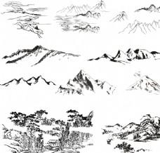 山川 线条 黑白 矢量 素材