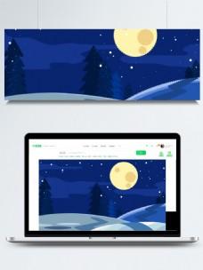 手绘夜空圣诞像素画背景素材