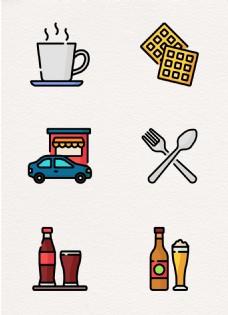 卡通彩色食物美食下午茶元素设计